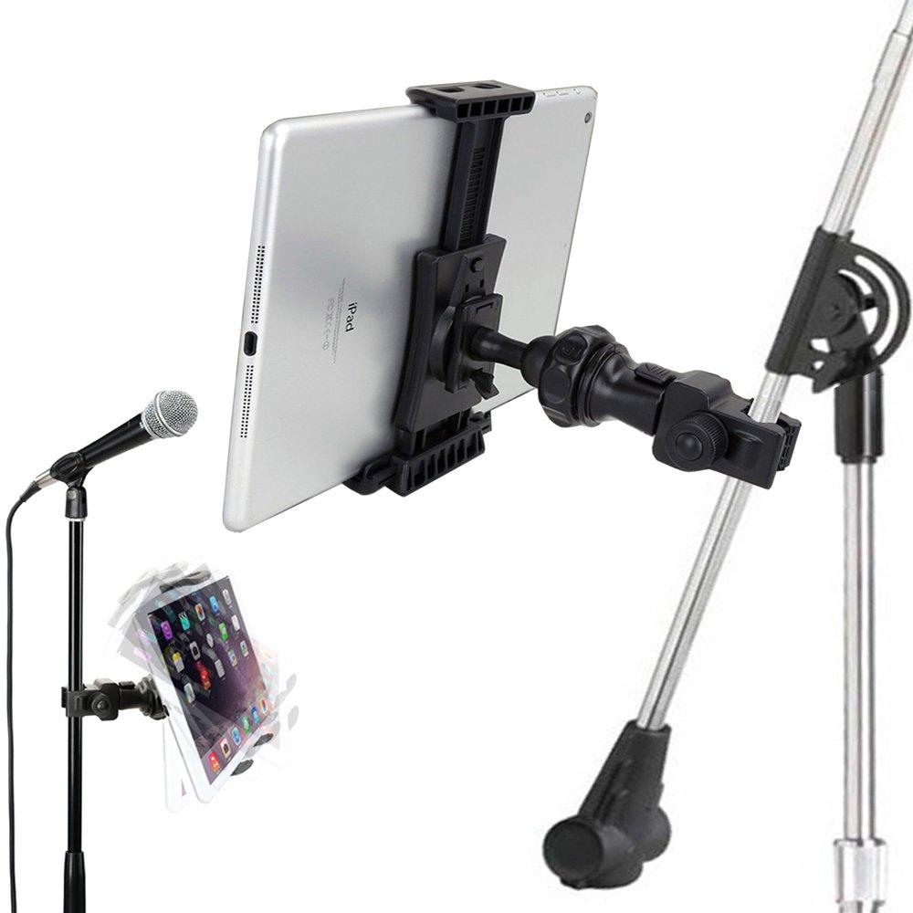 配件基础快速锁定麦克风音乐支架杆安装适用于苹果 ipad Pro Air Mini Galaxy Tab S9 Note iPhone XR XS MAX X 8 7 Plus适用于所有 7-12 英寸平板电脑和智能手机