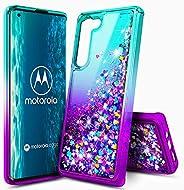 E-Began 摩托罗拉 Edge 5G 手机壳 [不适合摩托罗拉 Edge+ Plus],闪耀闪光液体浮动梯度瀑布,保护耐用的女孩可爱手机壳 - 水*/紫色