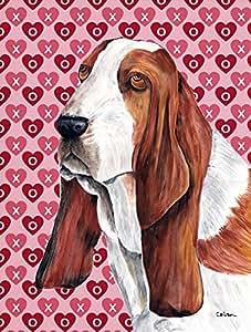 Basset Hound Hearts Love and Valentine's Day Portrait Flag 多色 小号