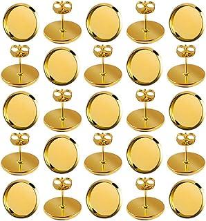 60 件 12 毫米镀金耳环耳钉圆形平整空白边框托盘凸圆形镶嵌蝴蝶耳环背部珠宝制作