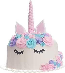 独角兽蛋糕装饰品 - 6 英寸大角、耳朵和睫毛 - 手工制作,可重复使用,3D,聚合粘土 粉红色 B07CTSQMPS