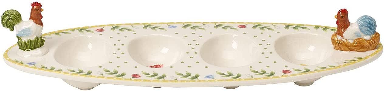 Villeroy & Boch 春日苏醒 公鸡母鸡佣 鸡蛋船型托盘 瓷器 31 × 12 厘米 白色