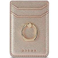 手机背面带环夹的手机卡夹,适用于 iPhone、Android 和智能手机的粘性信用卡钱包口袋Phone Pocket with Ring 玫瑰金