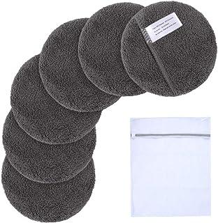 SUNLAND 可重复使用卸妆垫,适用于面部、*、唇部,超细纤维洁面手套,可水洗卸妆布,带洗衣袋圆形垫