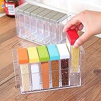 厨房透明调味盒 调料盒六件套装 连体带盖撒料罐盐味精调味罐 (彩色装)