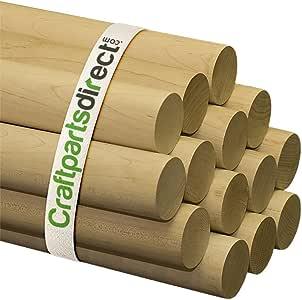 木制定位杆 - 5.08 cm x 91.44 cm 未抛光硬木棒 - 适用于工艺品和 DIY 工匠 - 手工零件直销 未抛光木 Bag of 2 BD20002