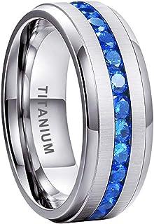 iTungsten 8 毫米钛戒指男女通用永恒婚戒蓝色圆形/公主方方晶锆石镶嵌斜边哑光舒适贴合