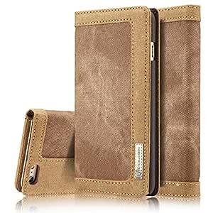 grnshts 帆布日记钱包式保护套带支架翻盖和 TPU 材质支架适用于 Apple iphone 6IPHONE 6S 棕色