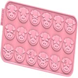 "SiliconeZone Chocochips Collection 8.9"" Non-Stick Silicone Piggy Chocolate Wafer Mold, Pink"