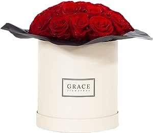 GRACE 花盒红色花束 | 22 颗真玫瑰 | 1-3 年的永恒玫瑰 | 来自狮子洞穴的知名