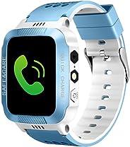 TOPCHANCES 儿童 GPS 智能手表跟踪手表带远程摄像头防水婴儿手表 SOS SIM 呼叫位置设备跟踪器 适用于儿童* 白色+蓝色