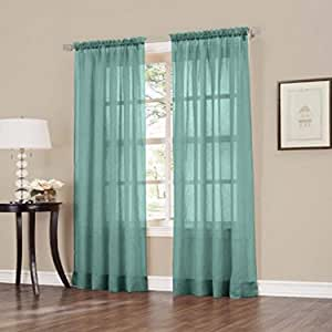 Easy Care Fabrics 2-Piece Sheer Crushed Voile Window Covering/Curtain/Drape/Panel/Treatment, 50 by 63-Inch, Mineral