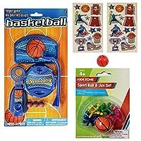篮球主题活动和游戏套装,适合儿童:运动球和Jax套装,桌面游戏,迷你弹跳球和 26 张贴纸