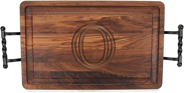 "CHUBBCO W220-LTWB-O Thick Carving Board with Large Twisted Ball Handle, 15-Inch by 24-Inch by 1.25-Inch, Monogrammed ""O"", Walnut"