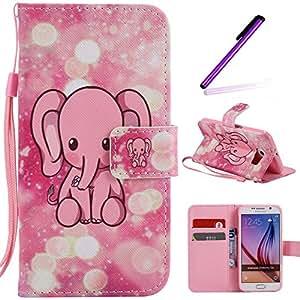 S6 手机壳,Galaxy S6 手机壳,LEECOCO 3D 闪耀飘逸沙钱包手机壳名片夹PU皮革支架钱包保护套适用于三星 Galaxy S6 L] Pink Elephant