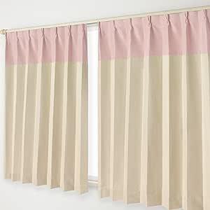 ナチュラル遮光カーテン Aフック 24.ピンクヘッド×ベージュ 幅100×丈200cm 2枚組