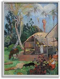 Stupell Industries Village Farm Native Figure 经典画,Paul Gauguin Wall Art 设计,40.64 x 50.80 厘米,灰色