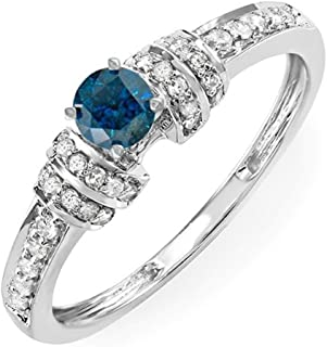 0.38 Carat (ctw) 14K White Gold Round Blue & White Diamond Ladies Bridal Engagement Ring (Size 5.5)