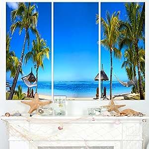 """毛里求斯沙滩与椅子 Seashore 照片帆布艺术墙照片艺术作品印刷品 蓝色 36x28"""" - 3 Panels PT9400-3P"""