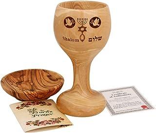 圣餐杯 - 主的* - 机械橄榄木酒杯 - Chalice (15.24 厘米大)带橄榄木面包托盘