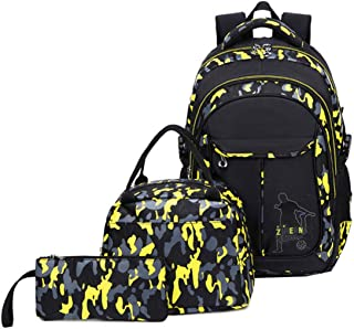 VIDOSCLA 3 件套迷彩印花小学生背包小学生书包学生背包背包带翻盖盒铅笔盒 黄色