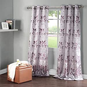 Duck River Textiles Brighton 花朵刺绣外观提花索环一对面板 银色/紫色 40 x 84 Inch - BFQSP=12/2152
