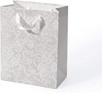 WRAPAHOLIC 中号礼品袋 - 花朵蕾丝印花闪光 - 用于婚礼、新娘、婴儿洗礼、派对礼物 - 17.78 x 10.16 x 22.86cm - 12 包 浅灰色 GB-LS-G
