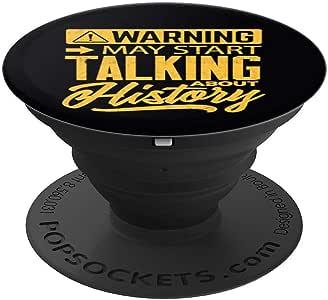趣味历史衬衫 Warning may 开始谈论历史 PopSockets 手机和平板电脑握把和支架260027  黑色