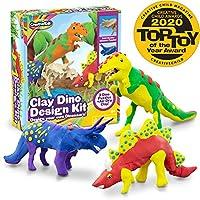 Creative Kids 儿童空气干燥粘土 DIY 恐龙模型手工套件 儿童适用 - 超轻* 3 x 3D 恐龙拼图带 15 x 模塑粘土 - STEM 教育套装 - 简易说明 - 男孩礼物