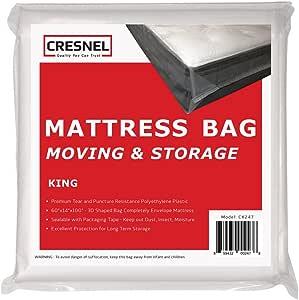 CRESNEL 4 毫米商用重型/*透明床垫塑料袋盖床单存储(不同数量/尺寸选择) 透明 King CK247