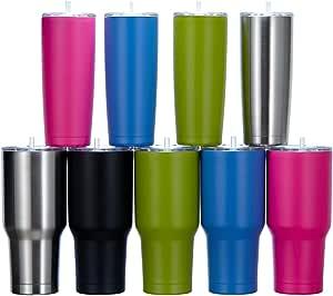 不锈钢玻璃杯 - 隔热旅行杯,配有扭转密封盖和吸管,可保持冰冷饮或热饮,适合您的一个忙碌生活 黑色 30 oz COMINHKG103787
