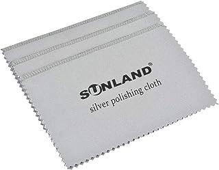 Sunland 3 件套优质超细纤维珠宝抛光布 - *适合清洁银色、金和铂金首饰 6inch x 8inch nhcybgrey1510x3