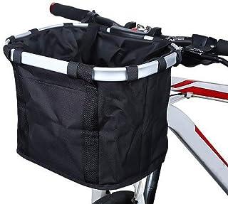 TooFu 防水可拆卸帆布自行车车篮自行车前背袋(黑色,33 x 24 x 25 厘米)