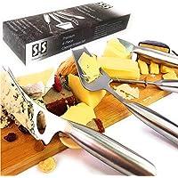 Solander Skelf 奶酪切片机,切割器,钢丝切割器,散发刀 | 奶酪刀 4 件套 | 不锈钢奶酪刀套装带礼品盒 | 奶酪餐具工具 | 送礼佳品