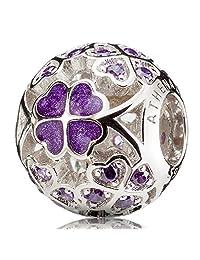 ATHENAIE珐琅四叶草镶钻925银珠子基础手链手镯 情侣女吊坠紫色