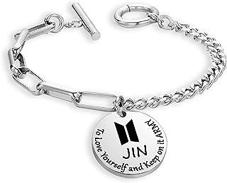 BTS Korean Group 男孩硬币手链爱自己并保持*珠宝 BTS 粉丝手镯 *礼物 励志团体礼物 赠送BTS 爱好者的*爱礼物 (BTS Never Mind BR)