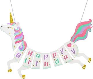 Ailyther 独角兽生日快乐横幅,儿童生日礼物,独角兽主题生日快乐派对装饰横幅,家庭派对装饰用品