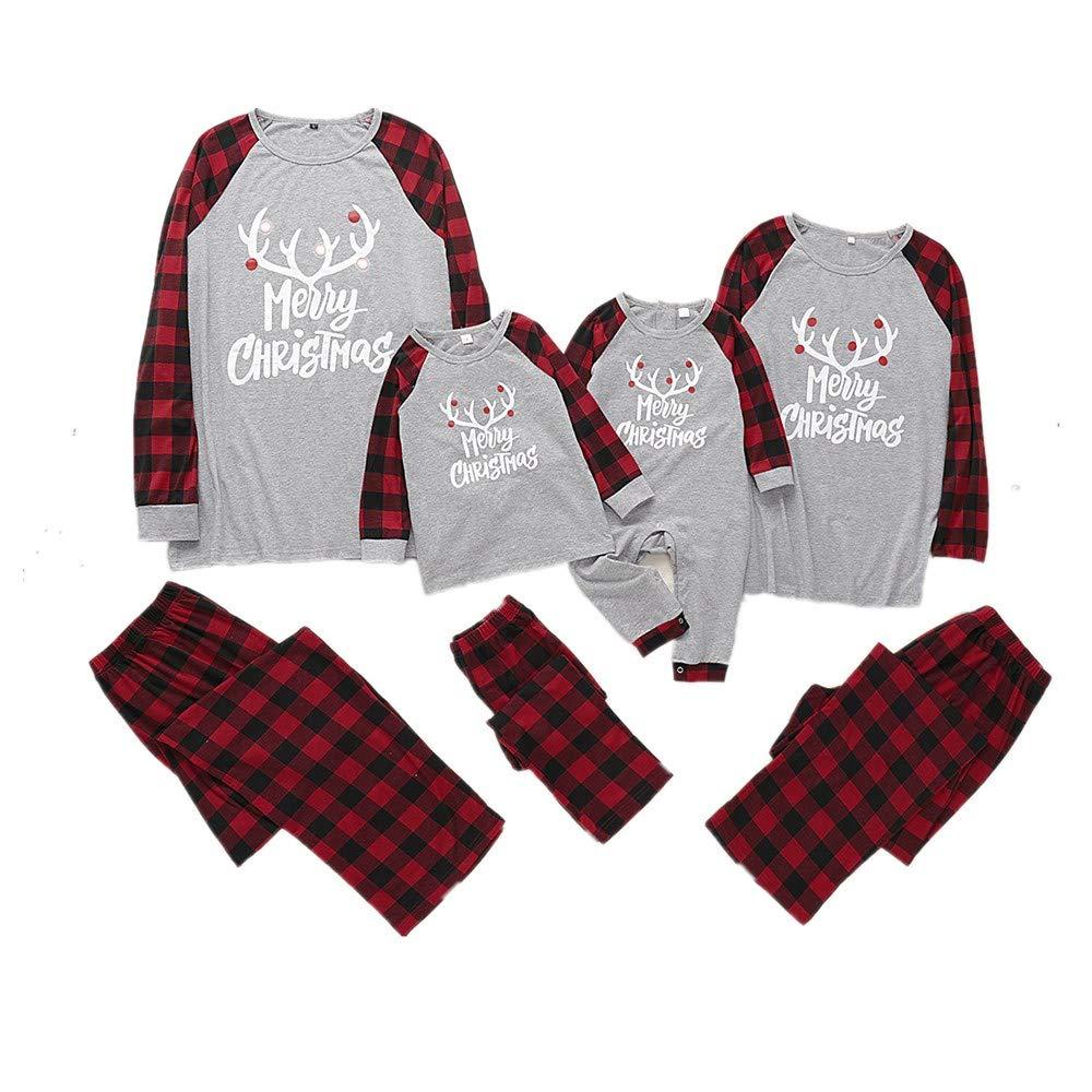 家庭配套圣诞睡衣套装长袖上衣和裤子睡衣套装