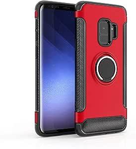 Heromck S-9 手机壳适用于三星 S9 手机壳 S9cases 9 S S9s Galaxys9 盖乐世戒指防护罩硬磁缓冲保护 5.8 英寸 红色