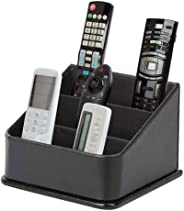 JackCubeDesign 3 隔层黑色皮革遥控器收纳架,控制器电视指南,媒体存储盒 - :MK122B