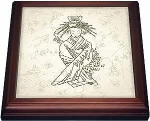 "3drose dooni Designs 东方灵感设计–漂亮轮廓日本艺伎 geigia 女孩 sitting 亚洲花卉东方装饰设计–trivets 天然 8 x 8"""