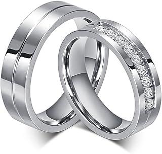 SWOPAN 情侣戒指 不锈钢配套定情戒指 公主型切割 新娘结婚订婚戒指 方晶锆石 戒指 男女适用 新娘 首饰 男孩礼物 男士 尺寸 8