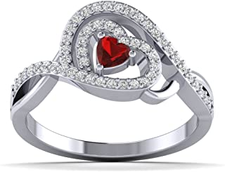 Fehu Jewel 1/4 克拉天然钻石和红宝石镀金银钻石订婚戒指