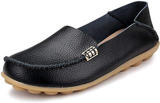 Ablanczoom 女式舒适皮革花卉印花平底鞋休闲驾驶乐福鞋女式步行鞋 黑色1 12.5