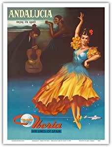 """安达卢西亚岛艺术品 - Enjoy Under It's Spell - 西班牙伊比利亚航空线 - 复古航空旅行海报 1959 年 - 艺术版画 9"""" x 12"""" PRTA4663"""