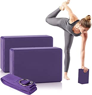 LEEWENYAN 瑜伽砖套装,高* EVA 泡沫锻炼块和瑜伽带防滑改善您的姿势和灵活性,为初学者、普拉提、健身、健身房提供稳定和平衡