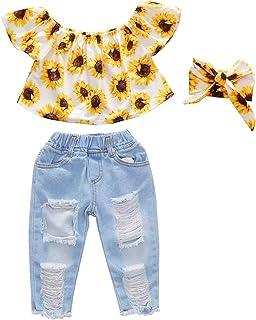 女婴婴儿太阳花露肩上衣荷叶边上衣 + 蓝色破洞长牛仔裤 + 头带夏季衣服套装