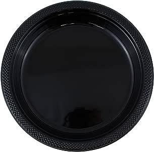 - 圆形和方形彩色塑料盘子–7,21.59cmx27.94cm–10/ 20盘每包 黑色 7 Inches - Round (Small)