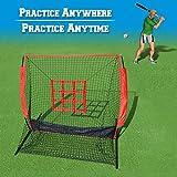 BenefitUSA 5 x 5 英尺棒球和垒球练习网,带攻击区靶子和手提袋