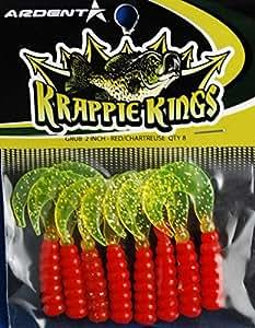 Krappie Kings Crappie/Panfish Grub Jig,红色/Chartreus,5.08 厘米